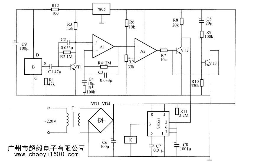 菲涅尔透镜,低频带通放大器,电压比较器,开机延时电路,报警电路和电源