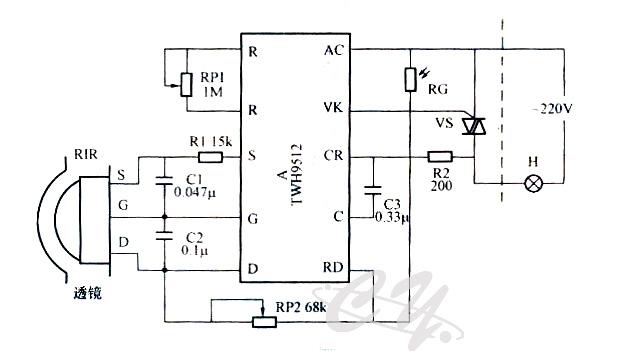 热释电感应人体自动照明工作原理图 电路原理如图所示,它主要由热释点红外传感器PTR、热释电红外传感专用控制模块A、光控电路及晶闸管开关电路等几部分组成。A是热释电红外传感专用控制模块,该模块能直接工作在220V交流电源线路上名来自热释电红外传感PIR的电信号经模块内部电路处理后,由VK端输出触发信号驱动晶闸管VS导通,使电灯H点亮发光。RG与RP2则构成光控电路,调节RP2苦调整光控灵敏度。RP1可进行红外感应控制灵敏度调节,调整其阻值使室内有人活动时电灯点亮。 更多详细资料请联系客服索取www.