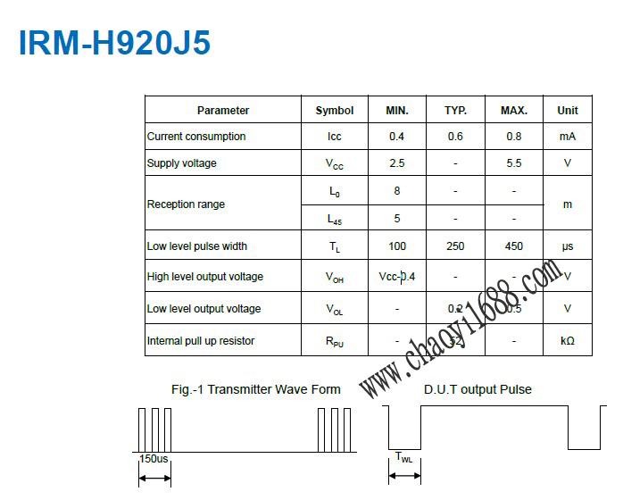 20khz红外线接收头:IRM-H92J5/TR2描述: 据数据统计,现市面上的3D快门眼镜主要分为四个系列:影院系列,投影系列,PC系列,电视通用型系列。3D接收头按照频率的划分又可分为20KHZ,25KHZ,38KHZ,20-40KHZ全频段接收头。20KHZ这个频率比标准的38KHZ要低,可以有效地规避来自电视机、机顶盒等其他红外信号的干扰,而电视机,机顶盒用的红外线接收器的工作波长是940nm,所以进一步规避了可能的干扰。 以下推荐一款用于20KHZ的TV上的3D眼镜:IRM-H920J5/TR2